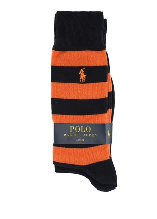 Lacivert Turuncu Logo Nakışlı Erkek Çorap