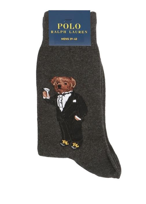 Füme Ayıcık Jakarlı Erkek Çorap
