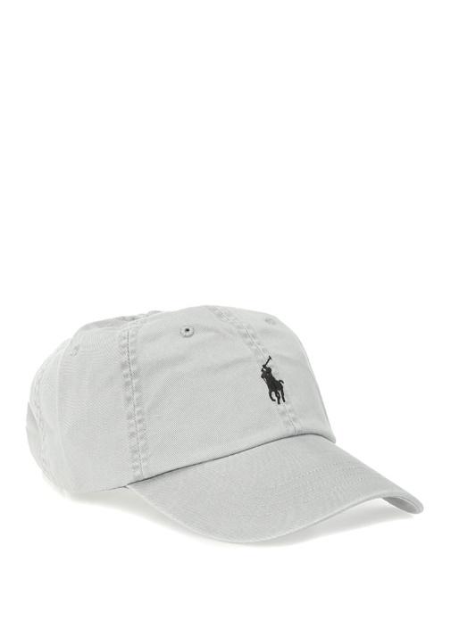 Gri Logo Nakışlı Erkek Şapka