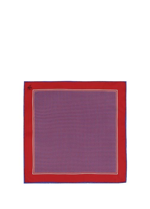 Kırmızı Lacivert Mikro Desenli İpek Poşet Mendil