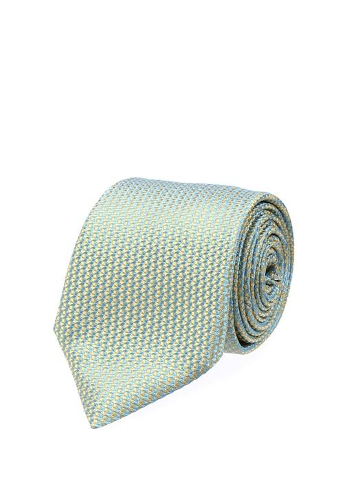 Sarı Mavi Mikro Desenli İpek Kravat