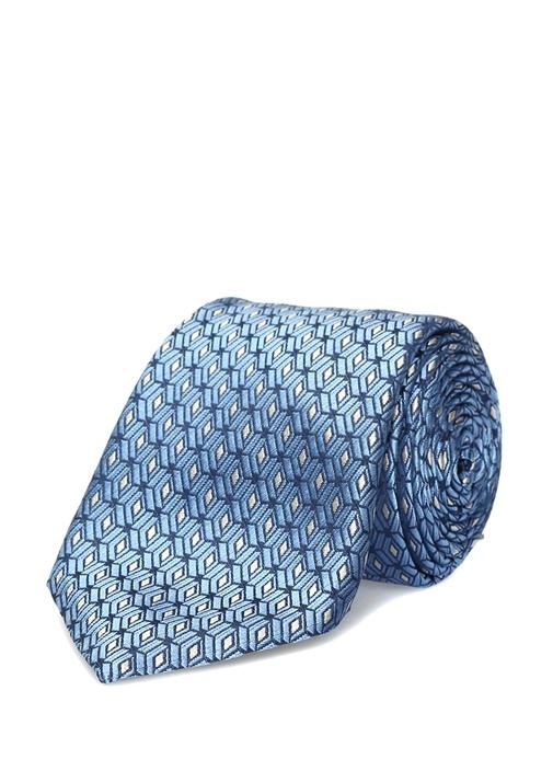 Mavi Mikro Geometrik Desenli İpek Kravat