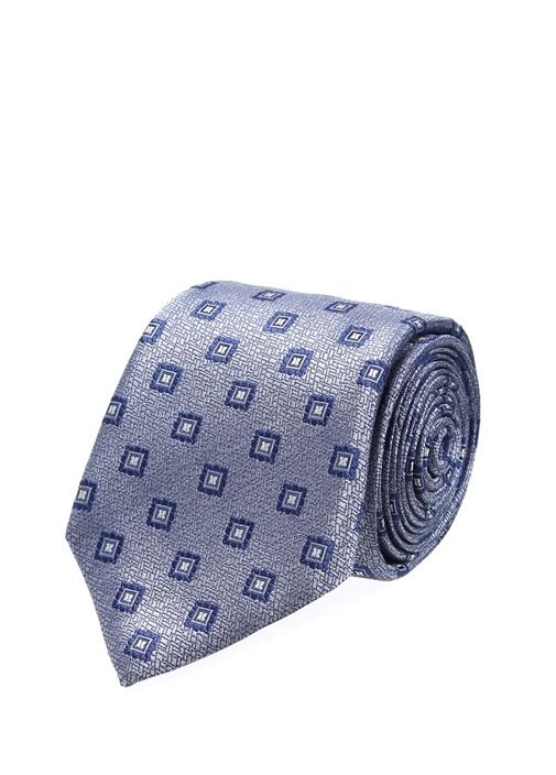 Mavi Beyaz Mikro Desenli İpek Kravat