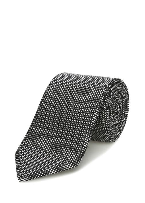 Siyah Gri Mikro Desenli İpek Kravat