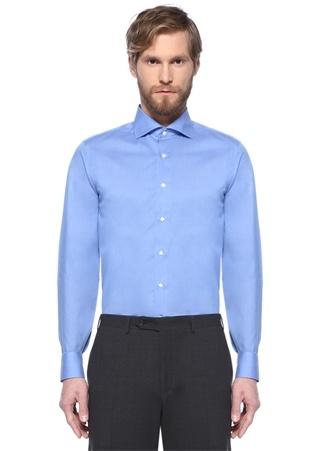 Mavi İngiliz Yaka Impeccabile Gömlek