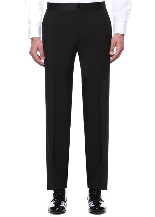 Drop 6 Siyah Yanları Şerit Detaylı Yün Pantolon