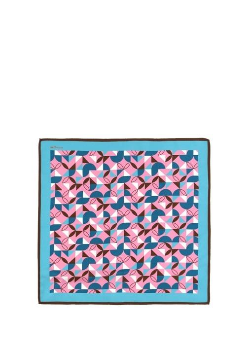 Pembe Mavi Geometrik Desenli İpek PoşetMendil