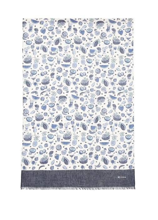 Mavi Beyaz Karışık Desenli Erkek Keten Şal