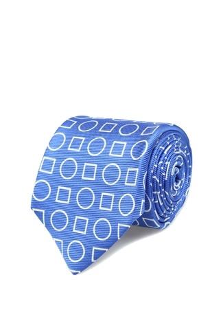 Kiton Erkek Mavi Geometrik Desenli İpek Kravat Ürün Resmi