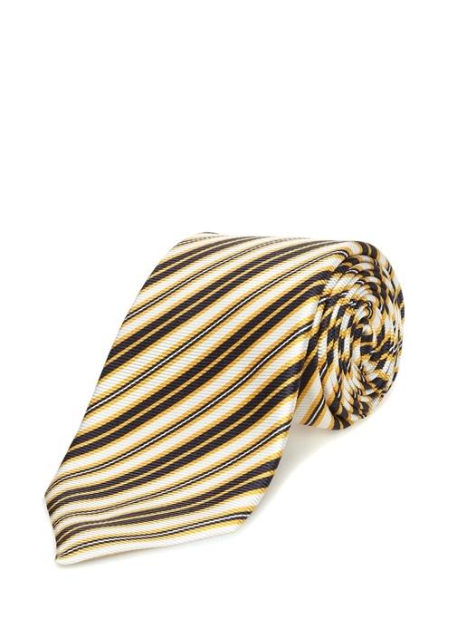 Sarı Lacivert Verev Çizgili ipek Kravat
