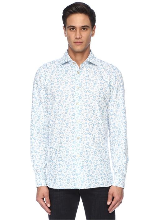 Beyaz Mavi Çiçek Baskılı İngiliz Yaka Gömlek