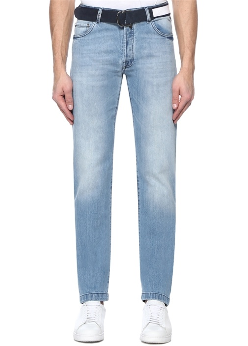 Mavi Normal Bel Kemer Detaylı Jean Pantolon
