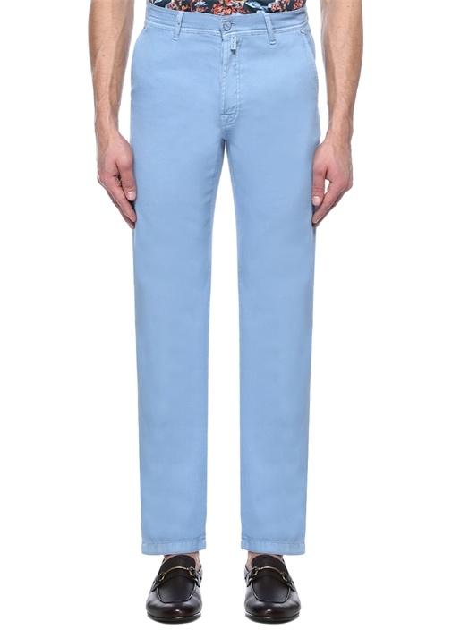 Mavi Normal Bel Denim Görünümlü Pantolon