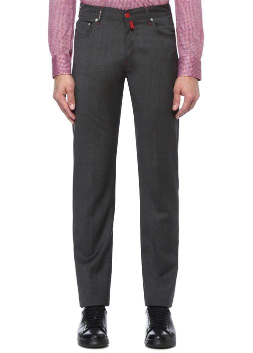Antrasit Normal Bel Boru Paça Yün Pantolon