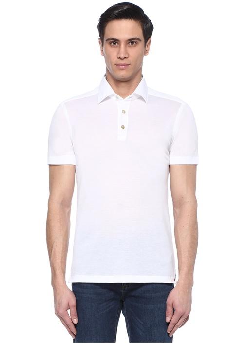 Beyaz Polo Yaka Dokulu T-shirt