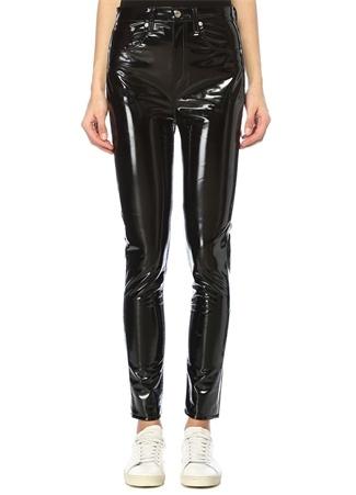Rag&Bone Denim Kadın Siyah Yüksek Bel Skinny Vinil Pantolon 24 US