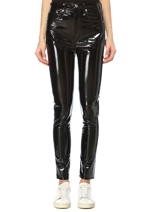 Siyah Yüksek Bel Skinny Vinil Pantolon