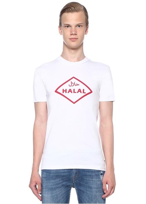 Halal Beyaz Baskılı Basic T-shirt