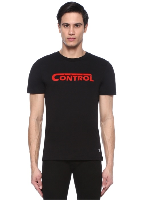 Siyah Bisiklet Yaka Yazı Baskılı T-shirt
