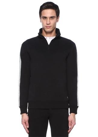 Cult of Cuddle Erkek Tire Mark Yakası Fermuarlı Desenli Sweatshirt Siyah XL EU