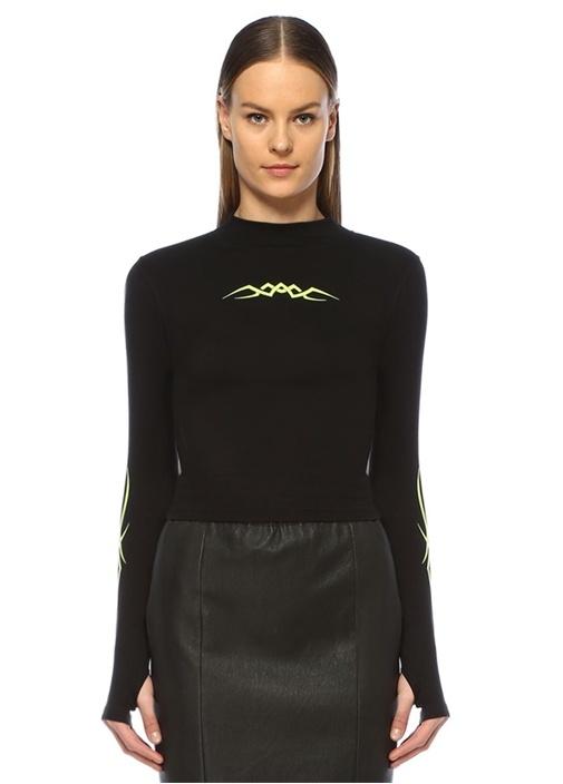 Siyah Neon Sarı Baskılı Sweatshirt