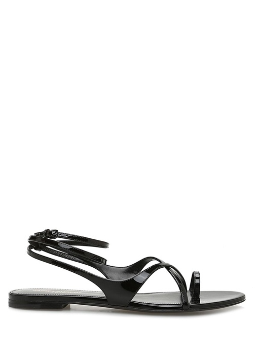 Gia Siyah Kadın Rugan Sandalet