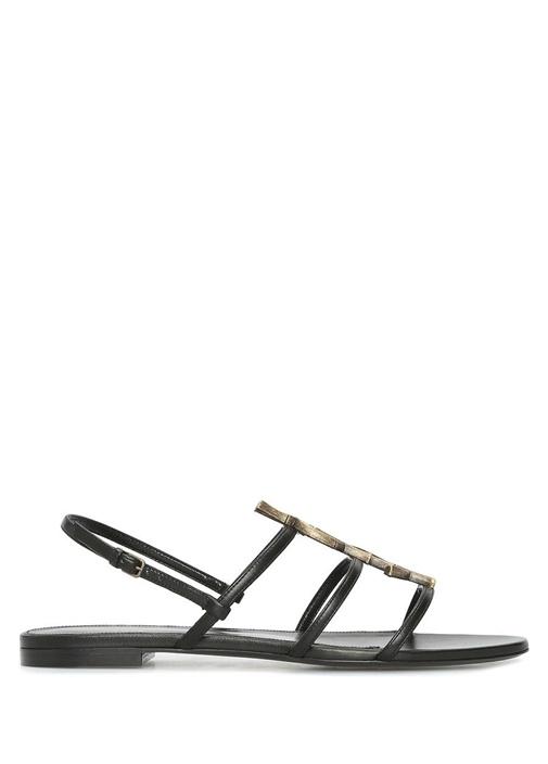 Cassandra Siyah Gold Logolu Kadın Deri Sandalet