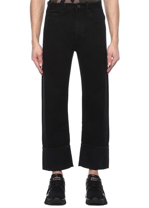Siyah Yüksek Bel Paça Detaylı Jean Pantolon