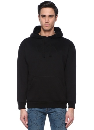 Siyah Kapüşonlu Logo Kabartmalı Sweatshirt