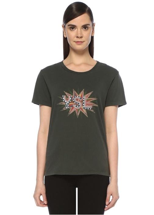 YSL Disco Koyu Gri Bisiklet Yaka T-shirt