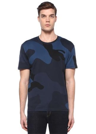 Lacivert Bisiklet Yaka Kamuflajlı BasicT-shirt