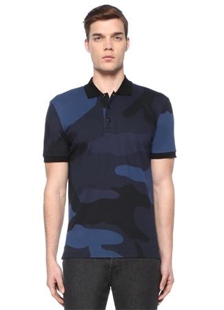 Lacivert Polo Yaka Kamuflaj Desenli T-shirt