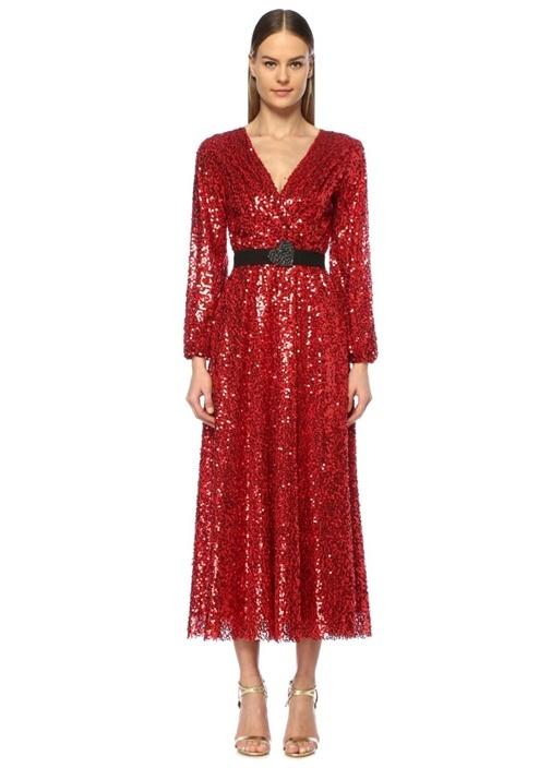 Cher Kırmızı V Yaka İşlemeli Maksi Anvelop Elbise