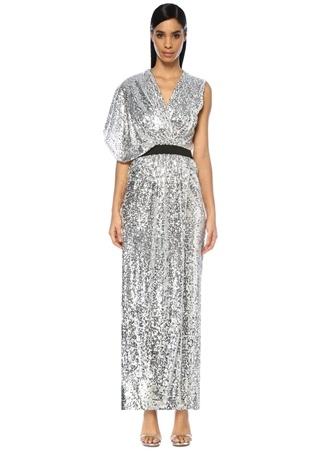 In the Mood for Love Kadın Camyrn Silver V Yaka Asimetrik Payetli Maxi Elbise Gri S EU