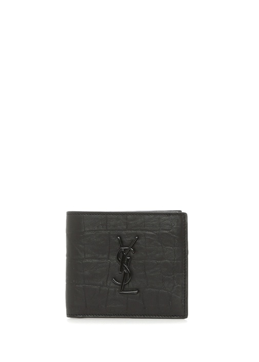 Siyah Logolu Krokodil Desenli Erkek Deri Cüzdan
