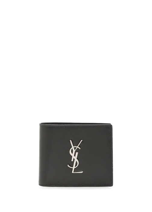 Siyah Metal Logolu Erkek Deri Cüzdan