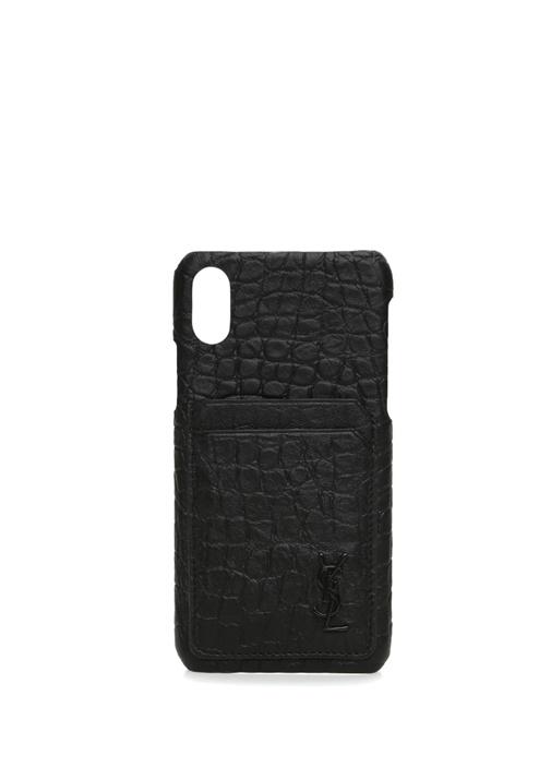 Siyah Dokulu Logolu iPhone X Deri Telefon Kılıfı