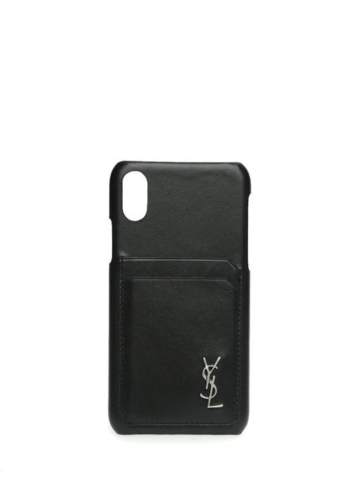 Siyah Logolu iPhone X Deri Telefon Kılıfı