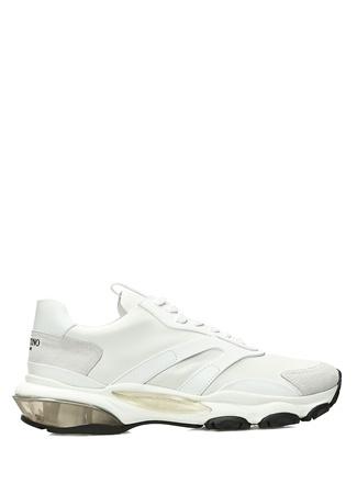 Beyaz Logolu Taban Detaylı Erkek Deri Sneaker