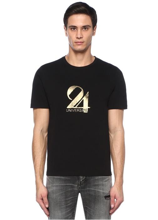 Siyah Bisiklet Yaka Metalik Baskılı Basic T-shirt