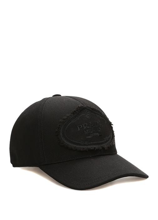 Siyah Logo Patchli Kadın Kanvas Şapka