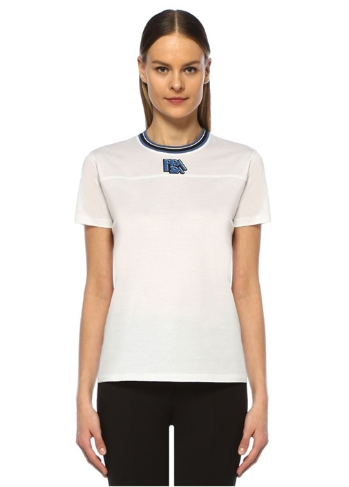 Beyaz Logo Patchli Rib Detaylı T-shirt