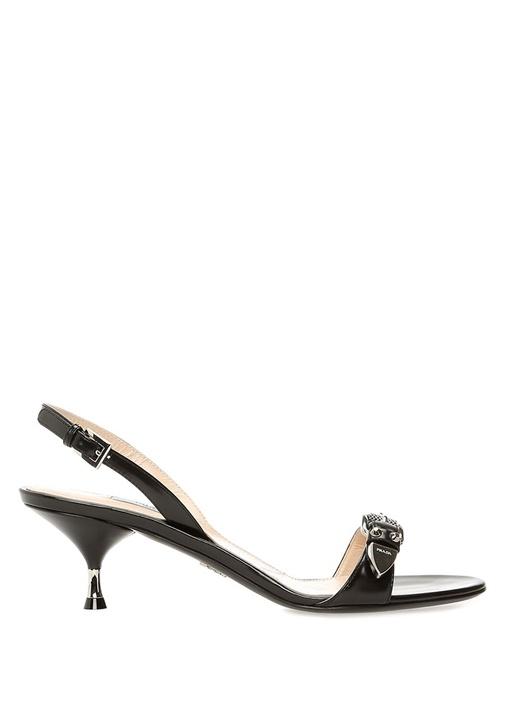 Siyah Çift Kemerli Kadın Deri Topuklu Sandalet