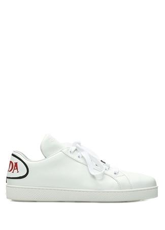 Prada Kadın Beyaz Logo Patchli Deri Sneaker 36.5 R Ürün Resmi