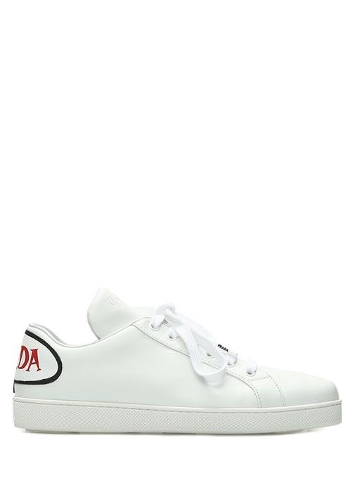 Beyaz Logo Patchli Kadın Deri Sneaker
