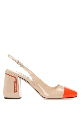 Bej Turuncu Kadın Deri Sandalet