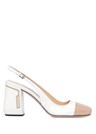 Beyaz Bej Renk Detaylı Kadın Topuklu Ayakkabı