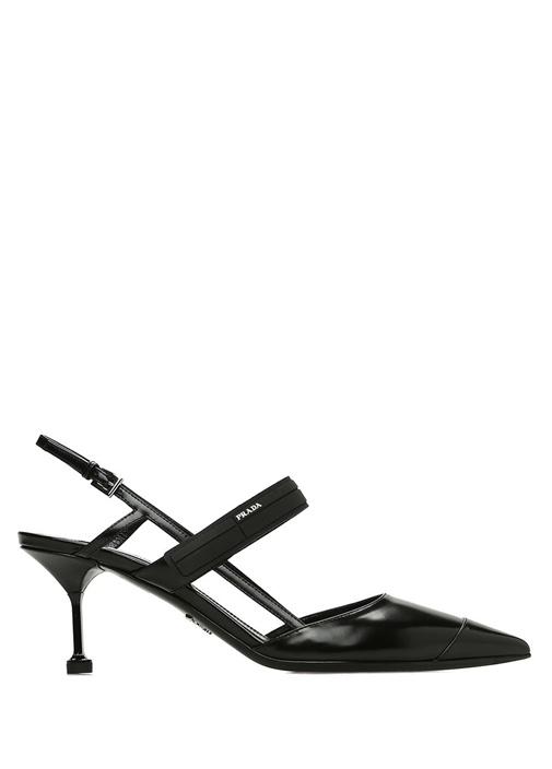Siyah Logolu Bantlı Deri Topuklu Ayakkabı