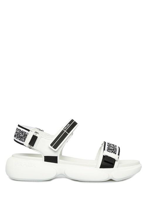 Beyaz Jakar Desenli Logolu Kadın Deri Sandalet