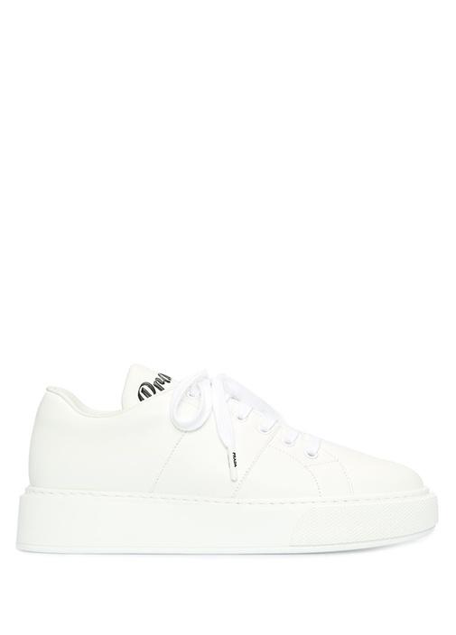 Beyaz Logo Detaylı Kadın Deri Sneaker